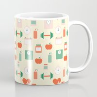 fitness Mugs featuring Fitness pattern by Xinnie and RAE