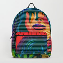 Color Blind - Bright Colorful Surreal Portrait of Woman, Painting Backpack