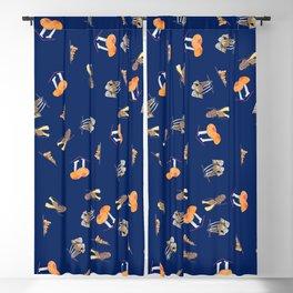 Mushroom Pattern - Navy Blue Blackout Curtain