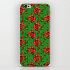Red Poinsettia Plaid iPhone & iPod Skin