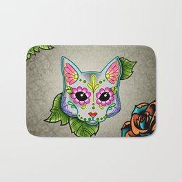 Grey Cat - Day of the Dead Sugar Skull Kitty Bath Mat