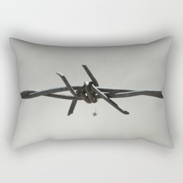 Spider on Barbed Wire in Black and White Rectangular Pillow
