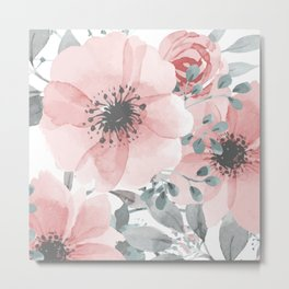 Abstract Watercolor, Floral, Coral and Gray, Watercolor Print Metal Print