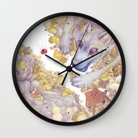 red hood Wall Clocks featuring Lttle Red Riding Hood by Pictographe