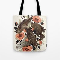 death Tote Bags featuring Spangled & Plumed by Teagan White