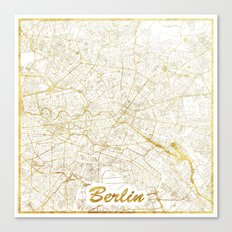 Berlin Map Gold Canvas Print