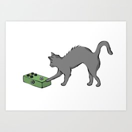 Kitty with a phaser pedal Art Print