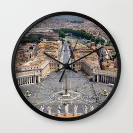 Saint Peter's Square in Vatican and aerial view of Rome Wall Clock