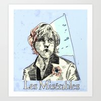 les mis Art Prints featuring Enjolras Les Mis Poster by Pruoviare