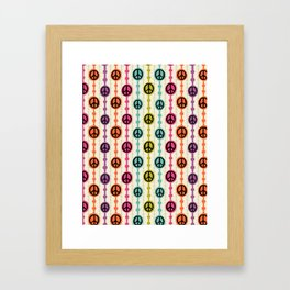 Peace Signs Hippie Beaded Curtain Framed Art Print