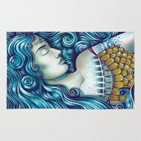 mythology Area & Throw Rugs featuring Calypso Sleeps by TotalBabyCakes