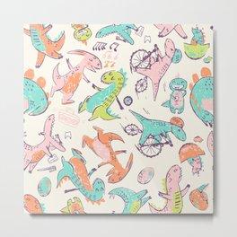 Cute Dino Friends Doodle Metal Print