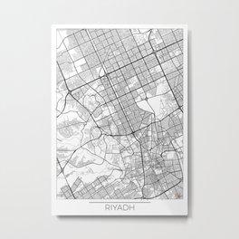 Riyadh Map White Metal Print