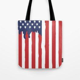 Bleeding American Flag of a US Patriot Tote Bag