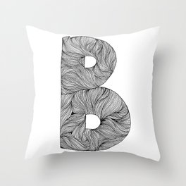 Hand Drawn Font B Throw Pillow