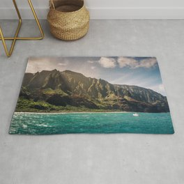 Na Pali Coast Kauai Hawaii Printable Wall Art | Tropical Beach Nature Ocean Coastal Travel Photography Print Rug