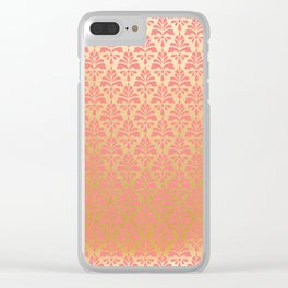 Modern chic coral faux gold floral elegant damask Clear iPhone Case