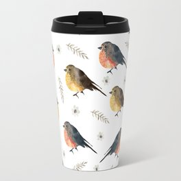 Cute red brown hand painted robin Christmas bird floral Travel Mug