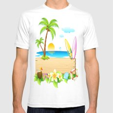 Tropical Island White MEDIUM Mens Fitted Tee