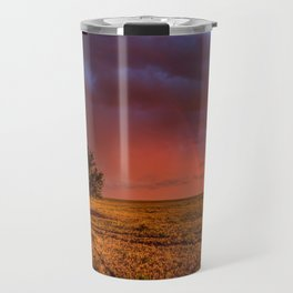 Fire Within - Red Sky and Rainbow Over Lone Tree on Great Plains Travel Mug