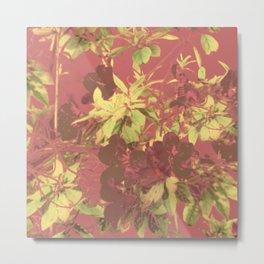 Tropical Vintage Floral Artwork Print Metal Print