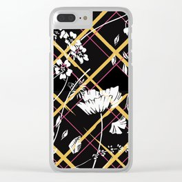 Flying Flowers Black Clear iPhone Case