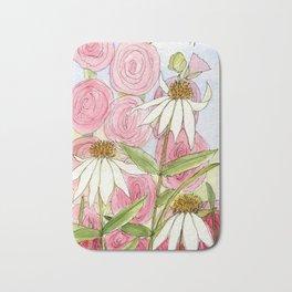 Pink Hollyhock and White Coneflower Garden Flowers Bath Mat
