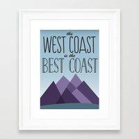 west coast Framed Art Prints featuring West Coast by Kyramari