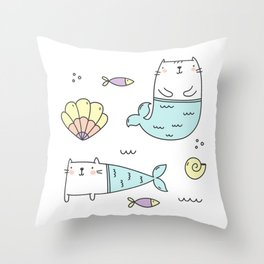 Ocean Merkitties Throw Pillow