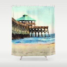 Folly Beach Pier - Folly Beach, SC - Charleston South Carolina Shower Curtain