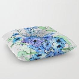 Delphinium Illustration Watercolor Painting Floor Pillow