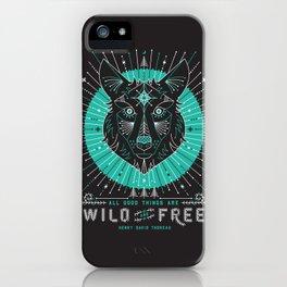 Wild & Free Wolf – Turquoise & Grey iPhone Case