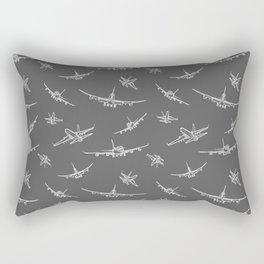Airplanes on Dark Grey Rectangular Pillow