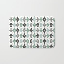 Argyle Blue Gray Diamonds Bath Mat