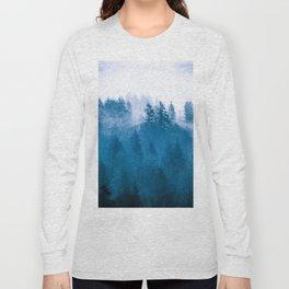 Blue Winter Day Foggy Trees Long Sleeve T-shirt