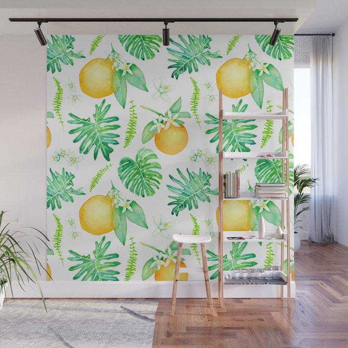 Citrus Tropics - White Wall Mural