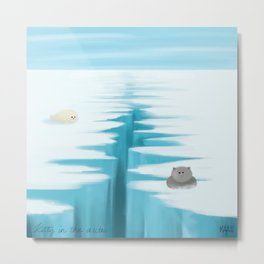 kitty in the arctic Metal Print