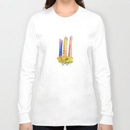 Fan' city landmarks illustration: sweet hometown-Shanghai Long Sleeve T-shirt
