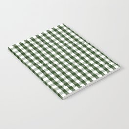 Dark Forest Green and White Gingham Check Notebook