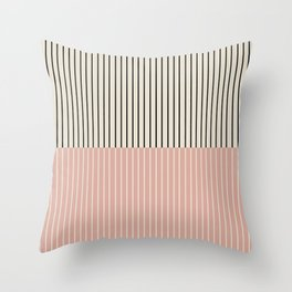Color Block Lines XIV Vintage Pink Throw Pillow