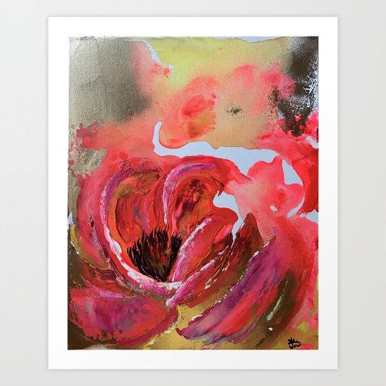 Golden Gloomy Garden Flower Art Print