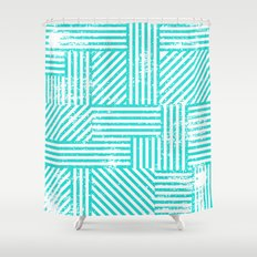 Turquoise Stripes Shower Curtain