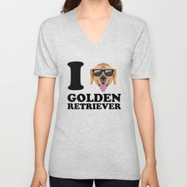 I Love Golden Retriever modern v1 Unisex V-Neck