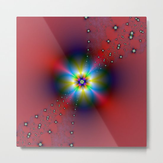 Floral Spray on Red Metal Print