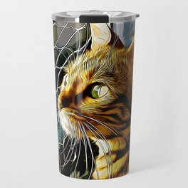 bengal cat yearns for freedom vector art Travel Mug