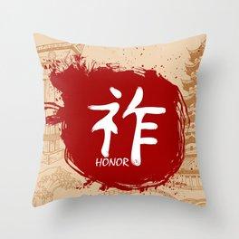 Japanese kanji - Honor Throw Pillow