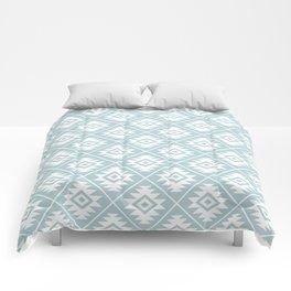 Aztec Symbol Ptn White on Duck Egg Blue Comforters