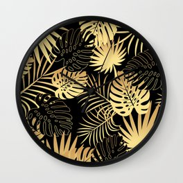 GOLD AND BLACK TROPICAL LEAVES Wall Clock
