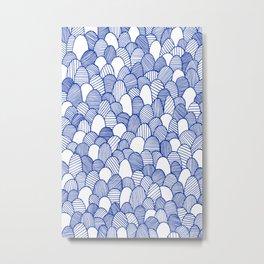 Striped Scallops - Blue Metal Print