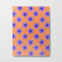 Colorful hand drawn retro home decor and textile design almond flowers pattern #3 Metal Print